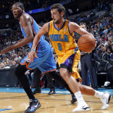 Oklahoma City Thunder v New Orleans Hornets: Marco Belinelli and Kevin Durant Photographic Print by Layne Murdoch