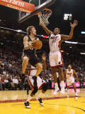 Indiana Pacers v Miami Heat: Mike Dunleavy and Jamaal Magloire Photographic Print by Mike Ehrmann