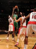 Boston Celtics v Toronto Raptors: Kevin Garnett and Reggie Evans Photographic Print by Ron Turenne