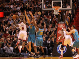 New Orleans Hornets v Miami Heat: LeBron James, Aaron Gray and Quincy Pondexter Photographic Print by Mike Ehrmann