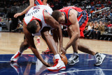 New Jersey Nets v Atlanta Hawks: Kris Humphries and Jason Collins Photographic Print by Kevin Cox