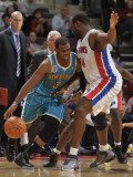 New Orleans Hornets v Detroit Pistons: Chris Paul and Jason Maxiell Photographic Print by Allen Einstein