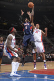 Atlanta Hawks v Detroit Pistons: Josh Smith, Ben Wallace and Charlie Villanueva Photographic Print by Allen Einstein