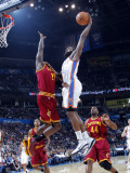 Cleveland Cavaliers  v Oklahoma City Thunder: J.J. Hickson and James Harden Photographic Print by Layne Murdoch