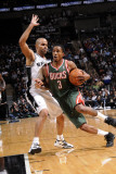 Milwaukee Bucks v San Antonio Spurs: Brandon Jennings and Tony Parker Photographic Print by D. Clarke Evans