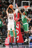 Boston Celtics v New Jersey Nets: Kris Humphries and Marquis Daniels Photographic Print by Jeyhoun Allebaugh