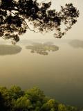 Foggy Sunrise over Dale Hollow Lake Fotografisk tryk af Raymond Gehman