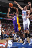 Los Angeles Lakers v Philadelphia 76ers: Ron Artest and Spencer Hawes Photographic Print by Jesse D. Garrabrant