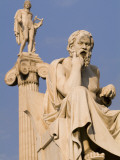 Statues of Socrates and Apollo in Front of the Academy of Athens Photographic Print by Richard Nowitz