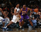 Los Angeles Lakers v Washington Wizards: Kobe Bryant and Nick Young Photographic Print by  Ned