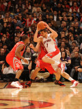 Houston Rockets v Toronto Raptors: Andrea Bargnani and Luis Scola Photographic Print by Ron Turenne