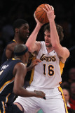 Indiana Pacers v Los Angeles Lakers: Pau Gasol, Roy Hibbert and T.J. Ford Photographic Print by Jeff Gross