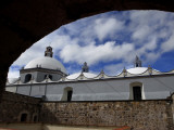 The Dome of Ocotlan's Dominican Monastery Church and Stone Walls Photographic Print by Raul Touzon