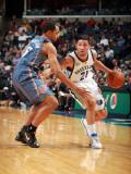 Charlotte Bobcats v Memphis Grizzlies: Greivis Vasquez and Gerald Henderson Photographic Print by Joe Murphy
