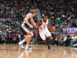 Oklahoma City Thunder v Utah Jazz: Kevin Durant and Andrei Kirilenko Photographic Print by Melissa Majchrzak