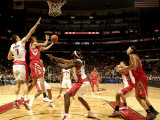 Houston Rockets v Toronto Raptors: Kevin Martin and Andrea Bargnani Photographic Print by Ron Turenne