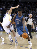 Minnesota Timberwolves v Golden State Warriors: Jonny Flynn and Lou Amundson Photographic Print by Ezra Shaw