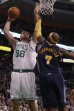 Denver Nuggets v Boston Celtics: Semih Erden and Al Harrington Photographic Print by Elsa