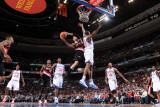 Portland Trail Blazers v Philadelphia 76ers: Rudy Fernandez and Thaddeus Young Photographic Print by Jesse D. Garrabrant