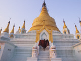 A Monk Runs Up the Steps of a Stupa Photographic Print by Alison Wright