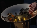 Reflections in a Brass Horn Used During the Procession Fete Dieu Photographic Print by Jodi Cobb