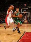 Boston Celtics v Toronto Raptors: Delonte West and Leandro Barbosa Photographic Print by Ron Turenne
