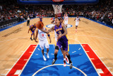Los Angeles Lakers v Philadelphia 76ers: Matt Barnes and Thaddeus Young Photographic Print by Jesse D. Garrabrant
