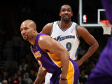 Los Angeles Lakers v Washington Wizards: Gilbert Arenas and Derek Fisher Photographic Print by Ned Dishman