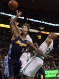 Denver Nuggets v Boston Celtics: J.R. Smith, Semih Erden and Ray Allen Photographic Print by  Elsa