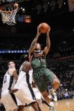 Milwaukee Bucks v San Antonio Spurs: Chris Douglas-Roberts and DeJuan Blair Photographic Print by D. Clarke Evans