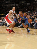 Oklahoma City Thunder v Toronto Raptors: Russell Westbrook and Jerryd Bayless Photographic Print by Ron Turenne