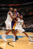 Los Angeles Lakers v Washington Wizards: Kevin Seraphin, Trevor Booker and Andrew Bynum Photographic Print by Andrew Bernstein