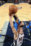 Oklahoma City Thunder v New Jersey Nets: Kris Humphries and Russell Westbrook Photographic Print by Jesse D. Garrabrant