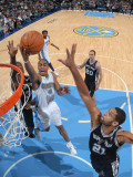 San Antonio Spurs v Denver Nuggets: Aaron Afflalo and Tim Duncan Photographic Print by Garrett Ellwood