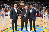 Orlando Magic v Denver Nuggets: Josh Kroenke, Masai Ujiri and George Karl Photographic Print by Garrett Ellwood