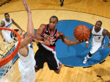 Portland Trail Blazers v Washington Wizards: Dante Cunningham and JaVale McGee Photographic Print by Ned Dishman