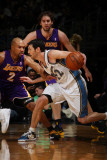 Los Angeles Lakers v Washington Wizards: Kirk Hinrich and Derek Fisher Photographic Print by Ned Dishman