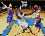 New York Knicks v Washington Wizards: John Wall, Danilo Gallinari and Raymond Felton Photographie par Ned Dishman