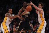 Indiana Pacers v Los Angeles Lakers: Roy Hibbert, Shannon Brown and Pau Gasol Photographic Print by Jeff Gross