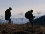 Silhouetted Hikers at Twilight on the Appalachian Trail Photographic Print by Raymond Gehman