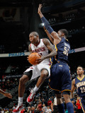 Indiana Pacers v Atlanta Hawks: Jamal Crawford and Roy Hibbert Photographic Print by Kevin Cox