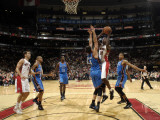 Oklahoma City Thunder v Toronto Raptors: Ed Davis and Nick Collison Photographic Print by Ron Turenne