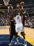 Miami Heat v Memphis Grizzlies: Zach Randolph, Mario Chalmers and Chris Bosh Photographic Print by Joe Murphy