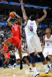 Houston Rockets v Oklahoma City Thunder: D.J. White and Ishmael Smith Photographic Print by Larry W. Smith