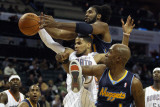 Denver Nuggets v Charlotte Bobcats: Nene, Chauncey Billups and D.J. Augustin Photographic Print by  Streeter