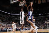 Memphis Grizzlies v San Antonio Spurs: Sam Young and Antonio McDyess Photographic Print by D. Clarke Evans
