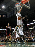 Miami Heat v Milwaukee Bucks: Dwyane Wade, Zydrunas Ilgauskas and Andrew Bogut Photographic Print by Jonathan Daniel