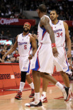 San Antonio Spurs v Los Angeles Clippers: Baron Davis, Brian Cook and Rasual Butler Photographic Print by Harry How