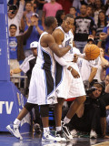 Miami Heat v Orlando Magic: Dwight Howard and Brandon Bass Photographic Print by Mike Ehrmann