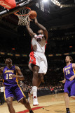 Los Angeles Lakers v Toronto Raptors: Amir Johnson, Ron Artes and Pau Gasol Photographic Print by Ron Turenne